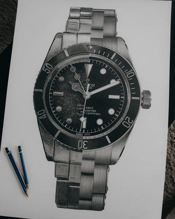 """Black Bay Then & Now"" Watch Drawing — Horological Art Print by Artist Tamás Fehér"