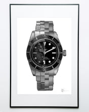 "Load image into Gallery viewer, ""Black Bay Then & Now"" Watch Drawing — Horological Art Print by Artist Tamás Fehér"