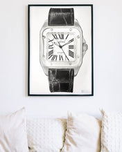 "Load image into Gallery viewer, ""Santos 100"" Pilot's Watch Drawing — Horological Art Print by Artist Tamás Fehér"