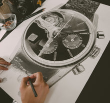 Load image into Gallery viewer, Carrera Vintage Chronograph & 250GT Interior — Horological Art Print by Artist Tamás Fehér