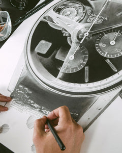 Carrera Vintage Chronograph & 250GT Interior — Horological Art Print by Artist Tamás Fehér