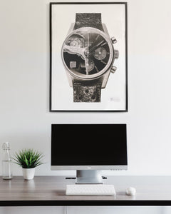 """Carrera Vintage Chronograph & 250GT Interior"" — Horological Art Print by Artist Tamás Fehér"