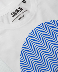 """Tribute To The Wave Dial"" Print T-Shirt In White — Horological Apparel"
