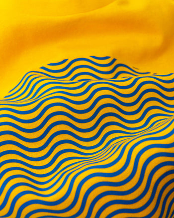 """Tribute To The Wave Dial"" Print T-Shirt In Yellow — Horological Apparel"