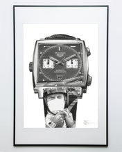 "Load image into Gallery viewer, ""Le Mans Chronograph"" Watch Drawing — Horological Art Print by Artist Tamás Fehér"