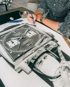 """Le Mans Chronograph"" Watch Drawing — Horological Art Print by Artist Tamás Fehér"