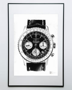 """Navitimer"" Watch Drawing — Horological Art Print by Artist Tamás Fehér"