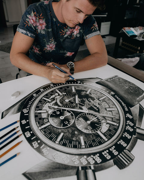 """Moonwatch Apollo 8"" Watch Drawing — Horological Art Print by Artist Tamás Fehér"