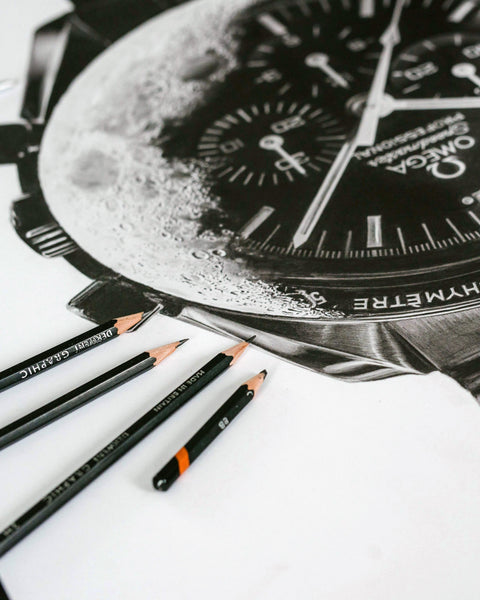 """Speedmaster Moonwatch"" Watch Drawing — Horological Art Print by Artist Tamás Fehér"