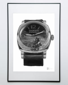 """Royal Italian Navy"" Dive Watch Drawing — Horological Art Print by Artist Tamás Fehér"