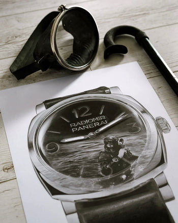 Royal Italian Navy Dive Watch Drawing — Horological Art Print by Artist Tamás Fehér