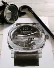 Load image into Gallery viewer, Royal Italian Navy Dive Watch Drawing — Horological Art Print by Artist Tamás Fehér