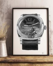 "Load image into Gallery viewer, ""Royal Italian Navy"" Dive Watch Drawing — Horological Art Print by Artist Tamás Fehér"