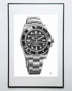 """Submariner Ref. 114060"" Waves Watch Drawing — Horological Art Print by Artist Tamás Fehér"