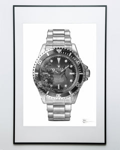 """Submariner Ref. 5512"" Vintage Dive Watch Drawing — Horological Art Print by Artist Tamás Fehér"