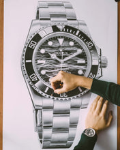 "Load image into Gallery viewer, ""Submariner Ref. 114060"" Waves Watch Drawing — Horological Art Print by Artist Tamás Fehér"