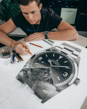 "Load image into Gallery viewer, ""Tribute To The Explorer"" Watch Drawing — Horological Art Print by Artist Tamás Fehér"