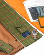 "Load image into Gallery viewer, Watch Carry Pouch In ""Window Pane"" Sherry Tweed by Holland & Sherry"