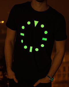 """Iconic Dial"" Luminescent Watch Dial T-Shirt — Horological Apparel"