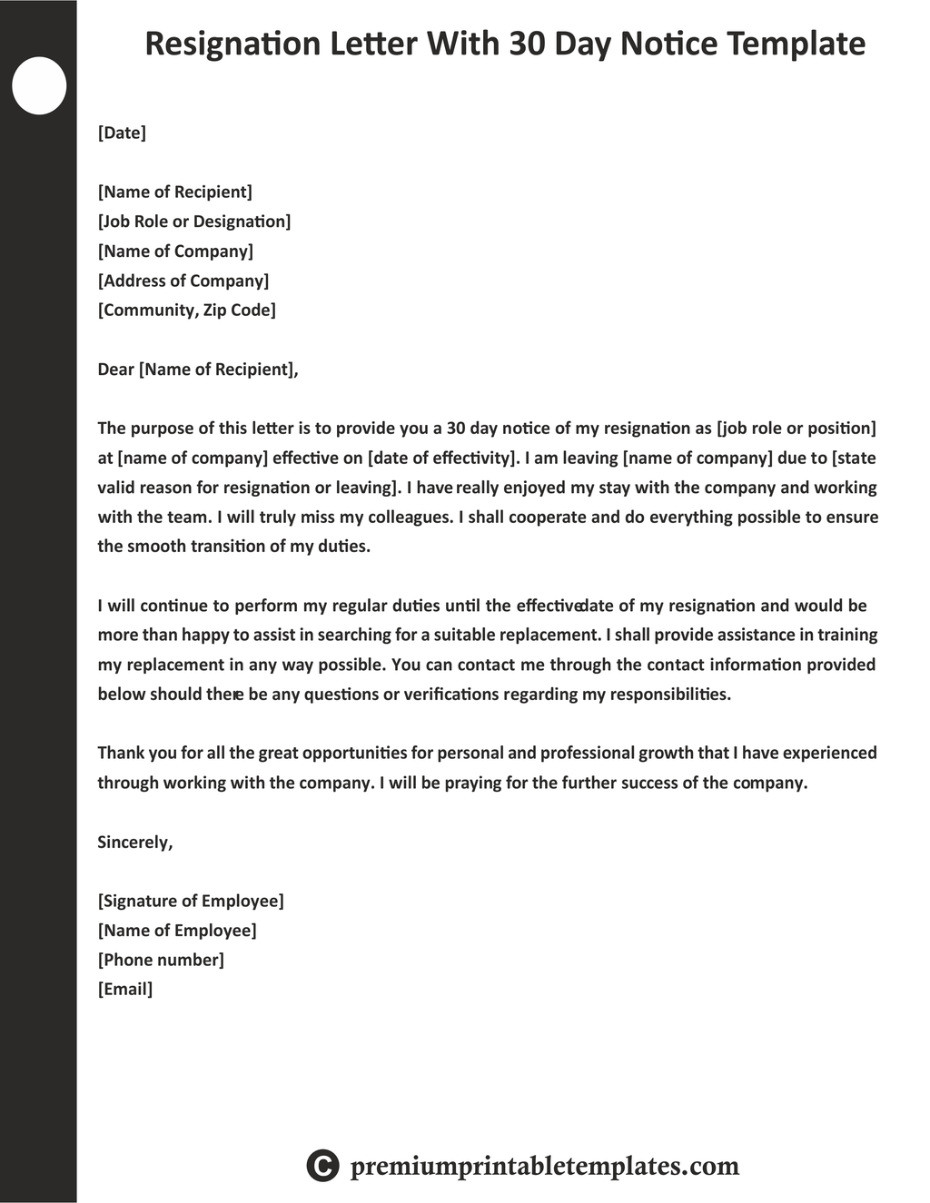 Resignation Letter with 30 Days Notice Template