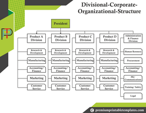 Divisional Corporate Organisation Chart Templates