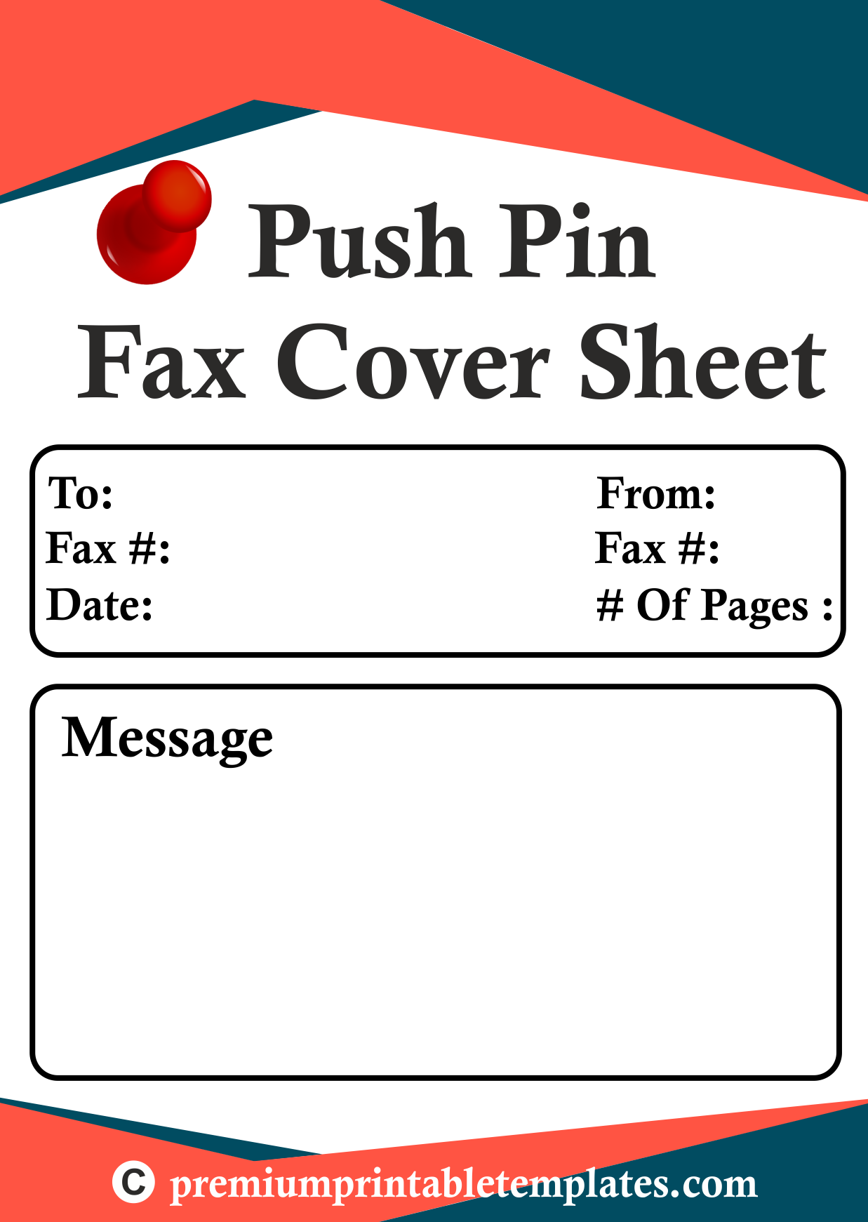 Pushpin Fax Cover Sheet Templates