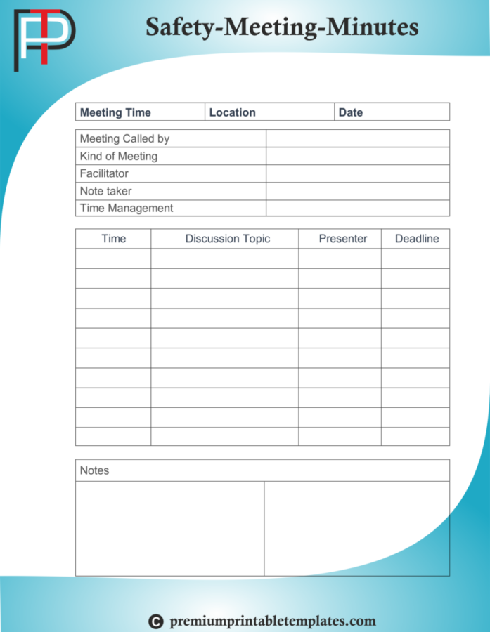 Safety Minutes of Meetings Templates