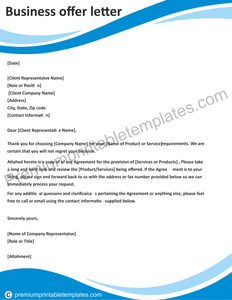 Business offer Letter