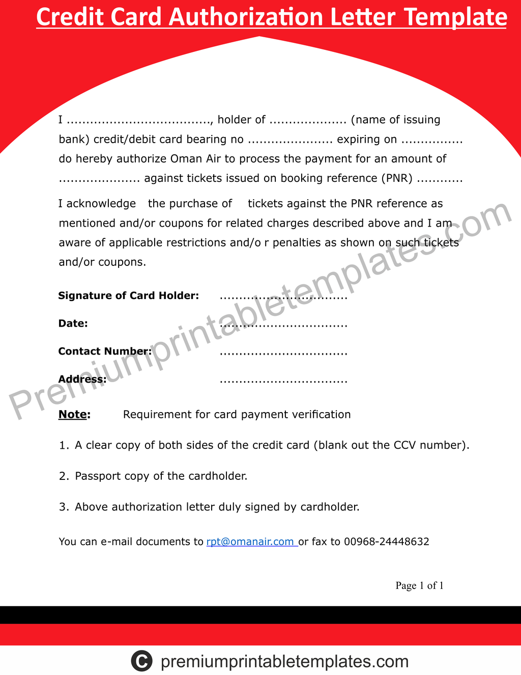 Credit Card Authorization Letter Templates