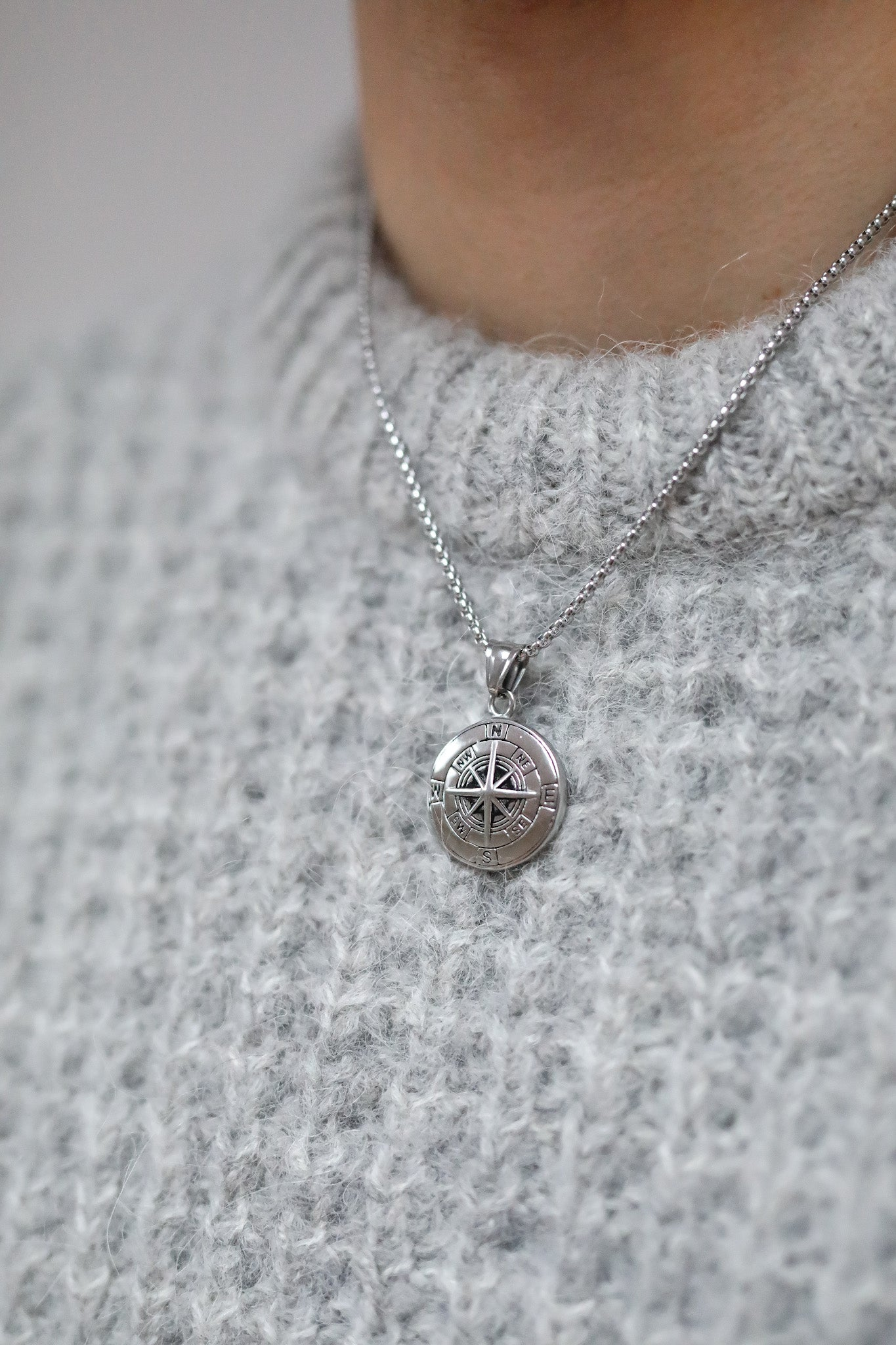 ARLO London silver stainless steel compass pendant jewellery accessory