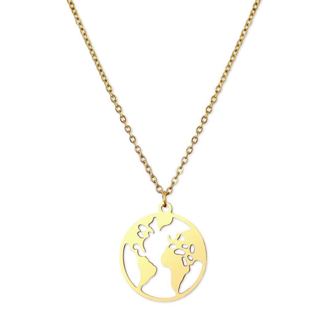 WORLD MAP PENDANT - GOLD