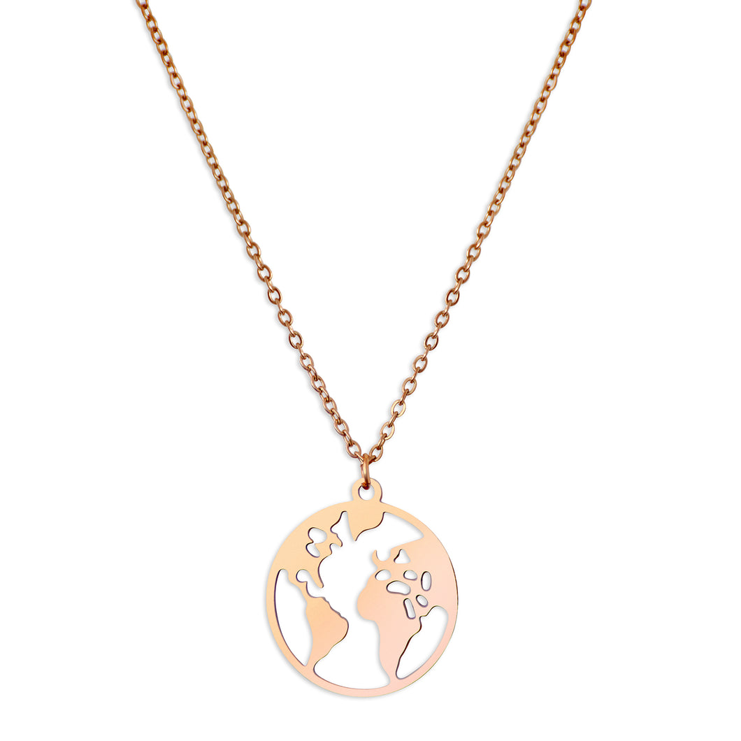 WORLD MAP PENDANT - ROSE GOLD