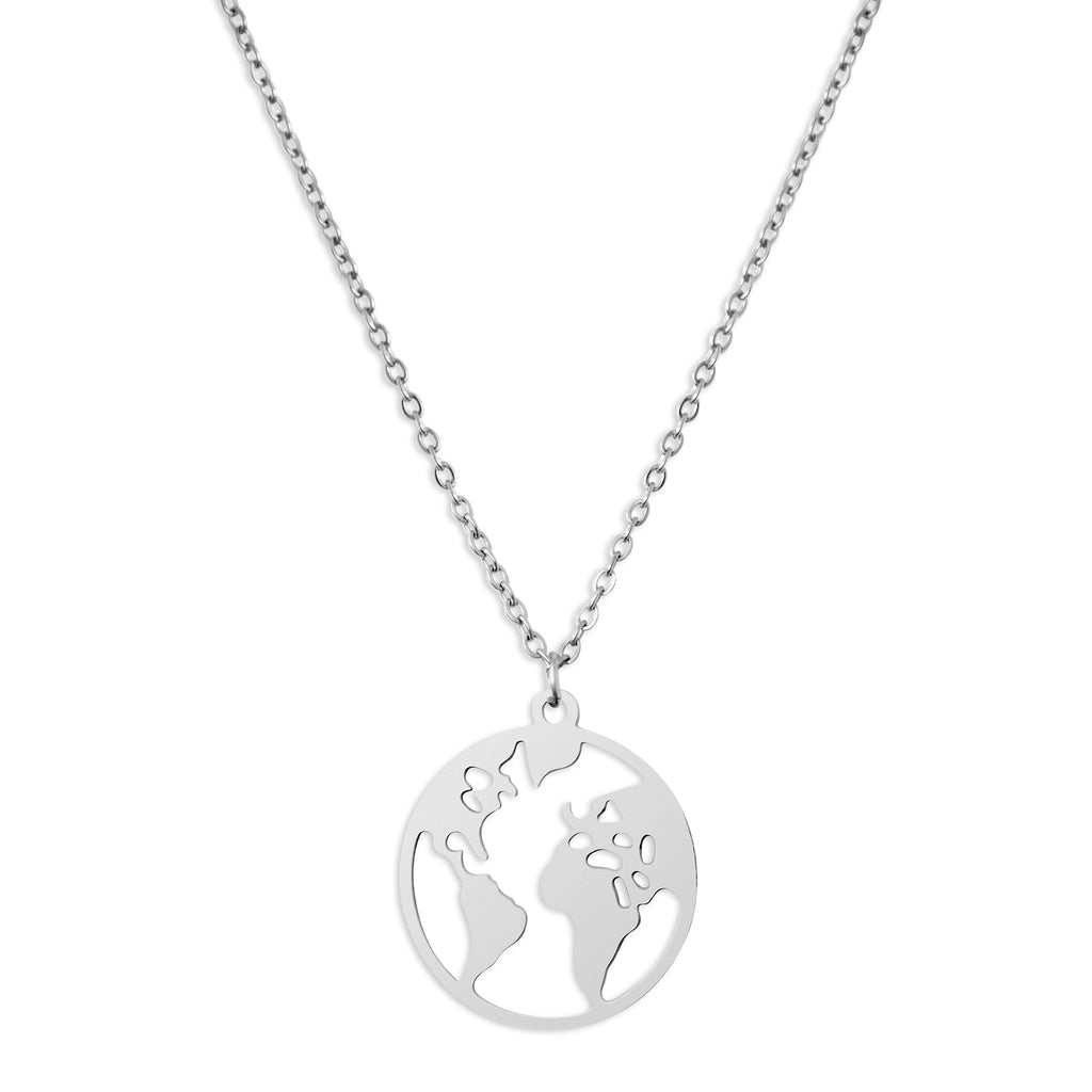 WORLD MAP PENDANT - SILVER