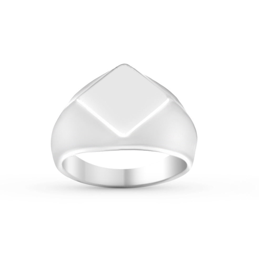 DIAMOND SIGNET - SILVER