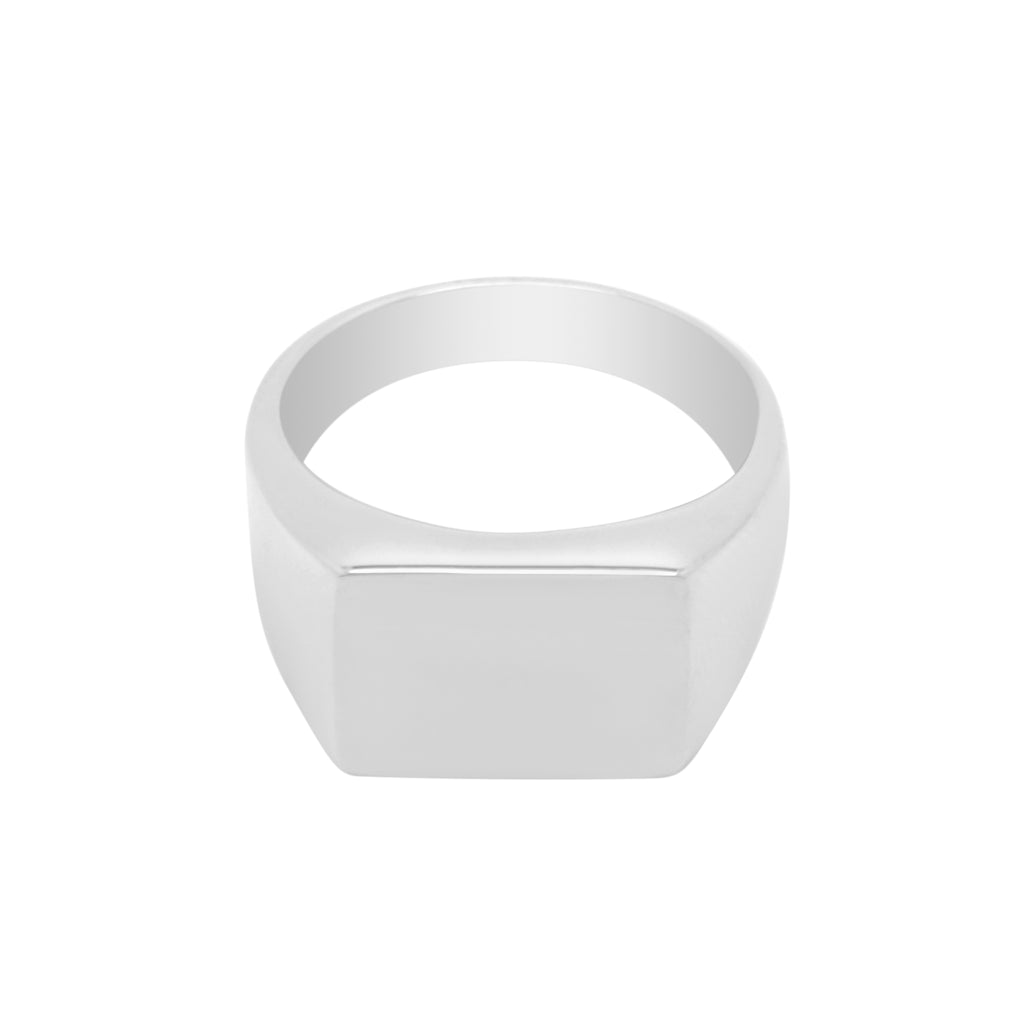 STAINLESS STEEL SIGNET RING - SILVER