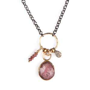 Pink Tourmaline and 14k Gold Necklace