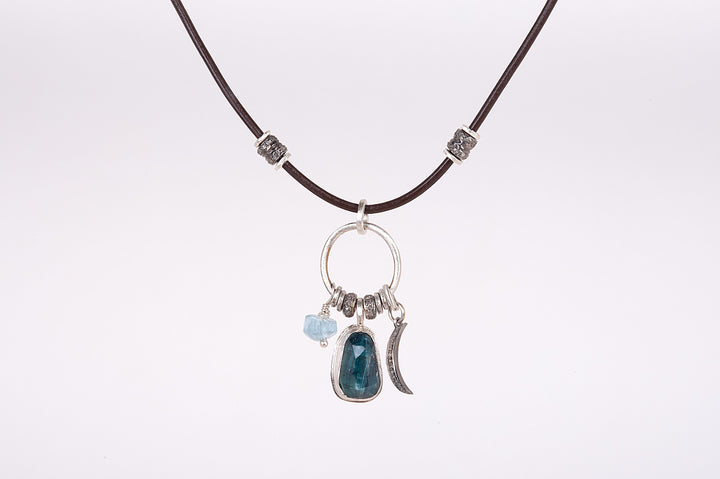 Blue Indicolite Tourmaline Solstice Leather Necklace