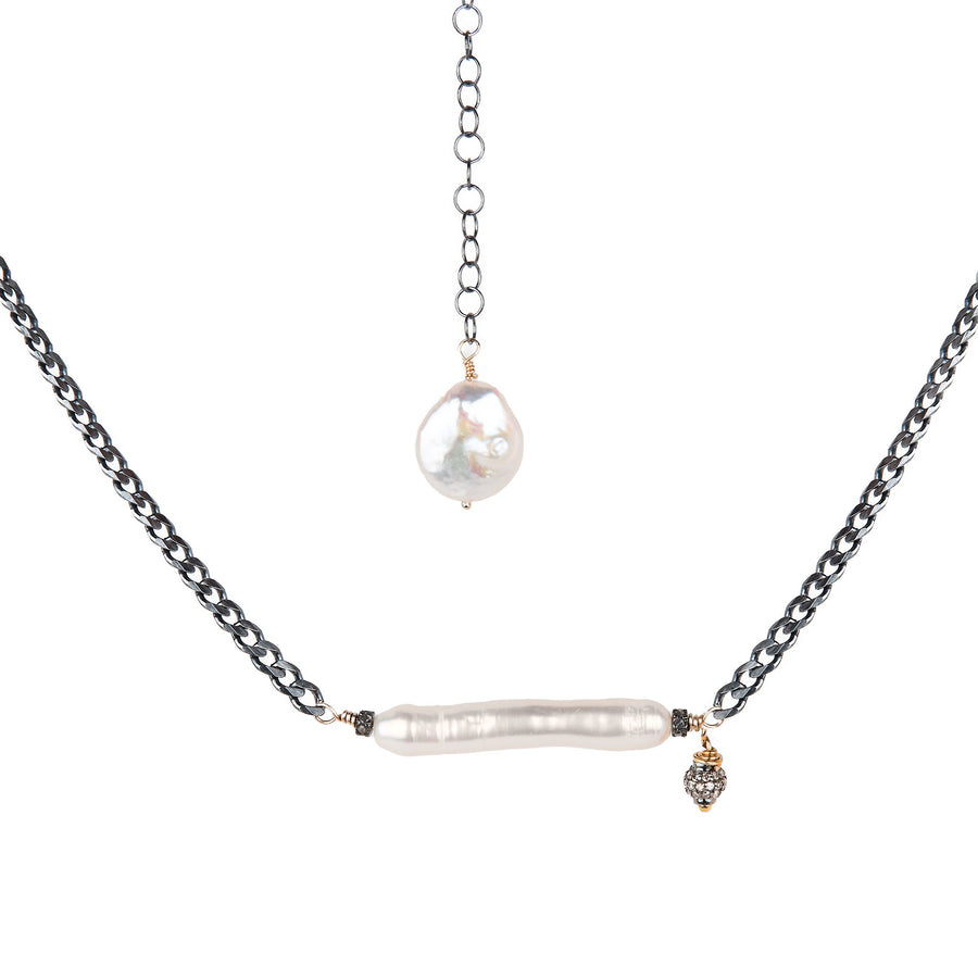 Pearl with Pavé Diamond Ball Necklace