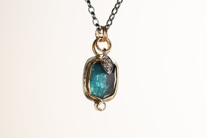 Indicolite Tourmaline and Diamond Necklace