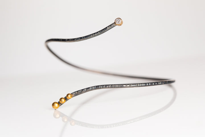 Diamond and Gold and Sterling Bangle