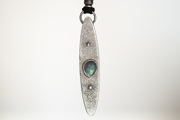 Labradorite and Pavé Diamond Leather Necklace