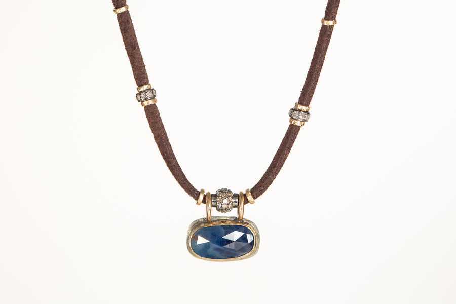 Blue Sapphire Necklace w/Pave Diamond and 14k Gold
