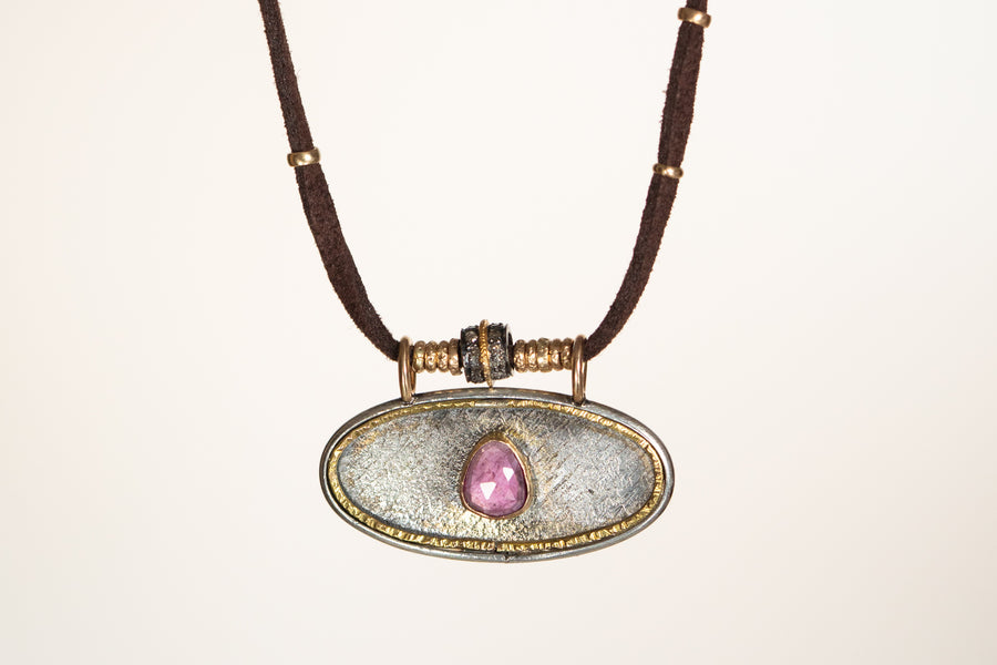 Pink Tourmaline and Pavé Diamond and Gold Leather Necklace