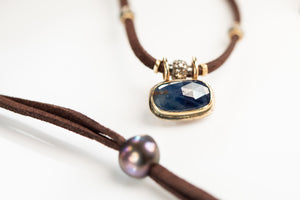 Blue Sapphire Necklace w/Pavé Diamond and 14k Gold
