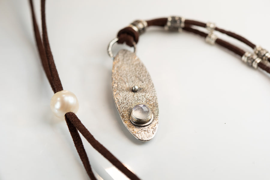 Moonstone and Pave Diamond Leather Necklace