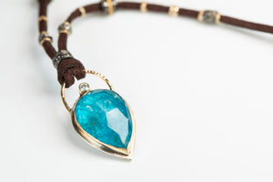 Blue Apatite and Diamond Leather Necklace