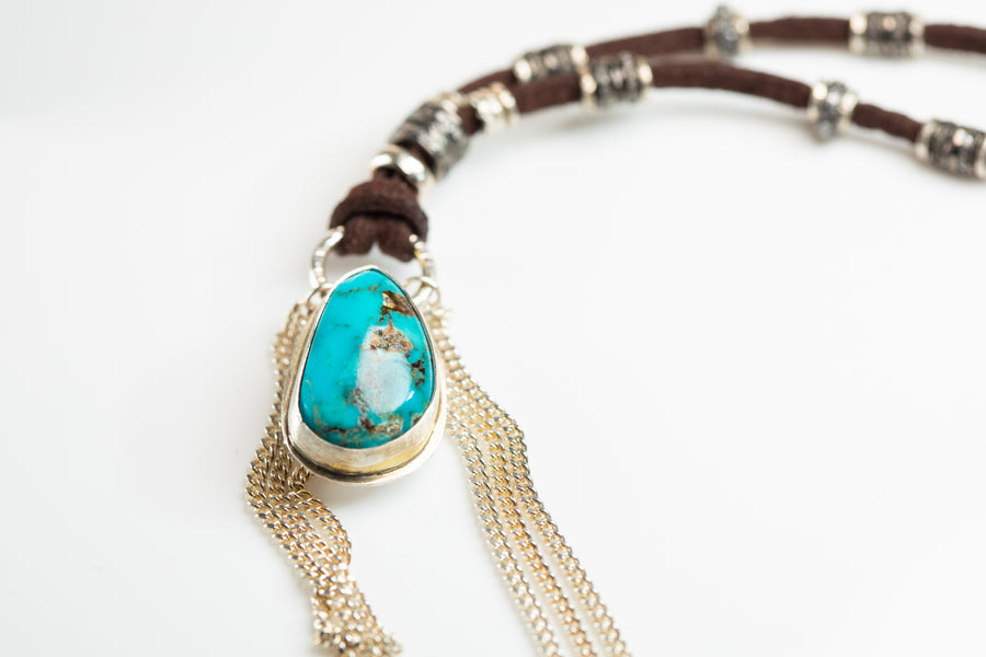 Turquoise and Pavé Diamond Necklace with Sterling Fringe