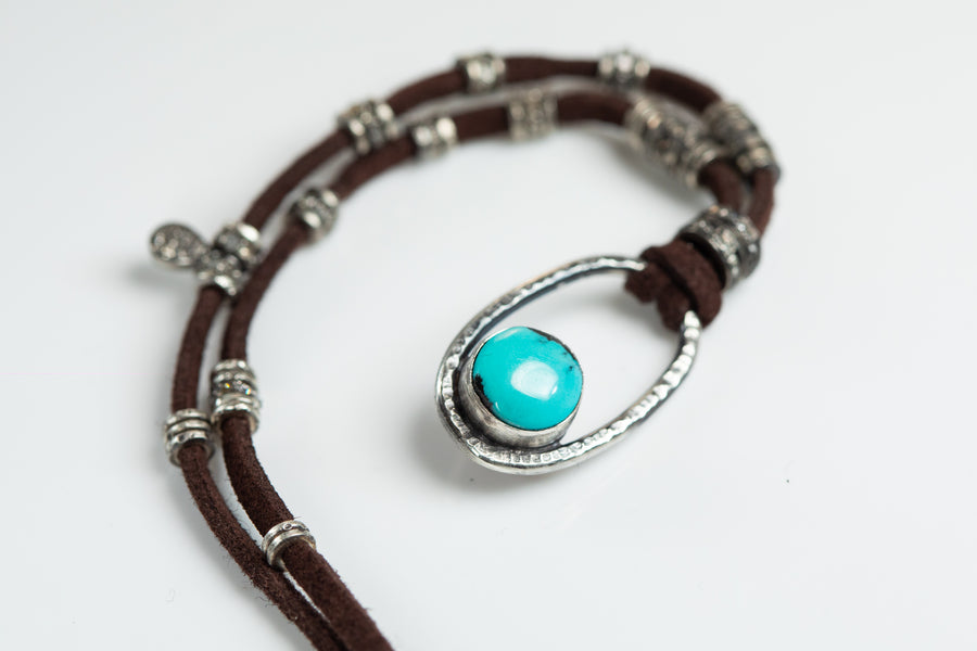 Turquoise and Pave Diamond Necklace