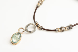 Moss Aquamarine and Pavé Diamond Necklace
