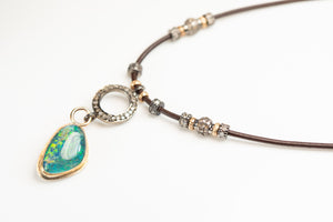 Boulder Opal and Pave Diamond 14k Gold Necklace
